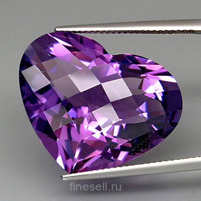 Natural clean Bolivian amethyst heart cut