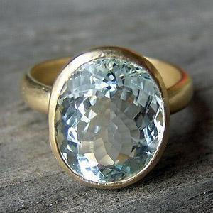 Золотое кольцо с натуральным аквамарином