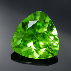 Natural Chrysolite loose gemstone trillion faceted