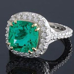 Platinum ring with huge emerald