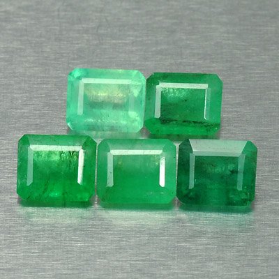 Natural emerald pair octagon