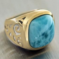 Камень Ларимар, перстень