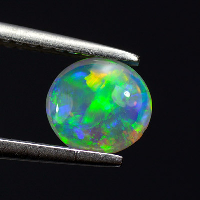Full fire bright color play Natural Crystal Opal cab