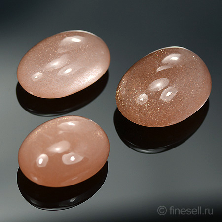 Natural Sunstone Set oval polished cabochones