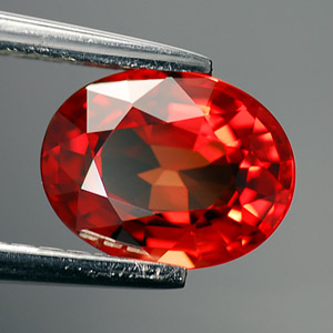 Natural Orange-red Songea Sapphire oval cut loose gemstone 1.27 Ct