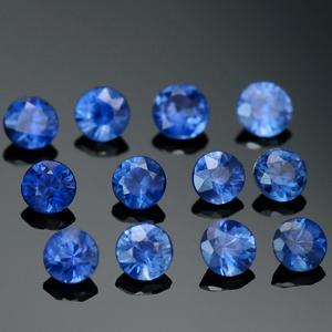 Россыпь натуральных синих сапфиров круглой формы