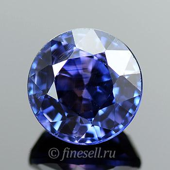Натуральный круглый синий сапфир