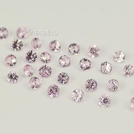 Россыпь натуральных светло розовых сапфиров круглой формы