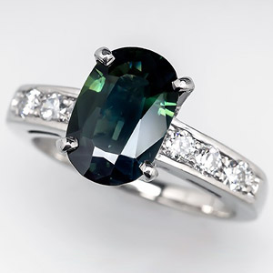 Natural green sapphire in white gold ring