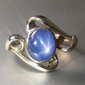 Natural unheated blue star sapphire in silver ring