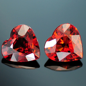 Natural Spessartine Heart shaped matched pair 1.89 Ct