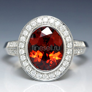 White gold spessartine ring