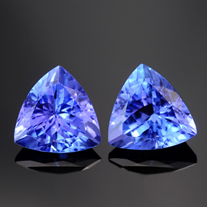 Top Quality Natural Trillion Matched Tanzanite Pair vBI 3.03 Ct
