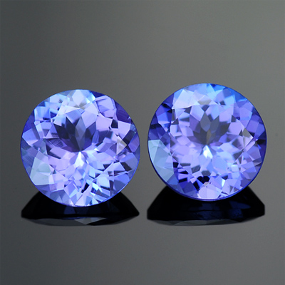 Natural Round Matched Tanzanite Pair 2.40 Ct