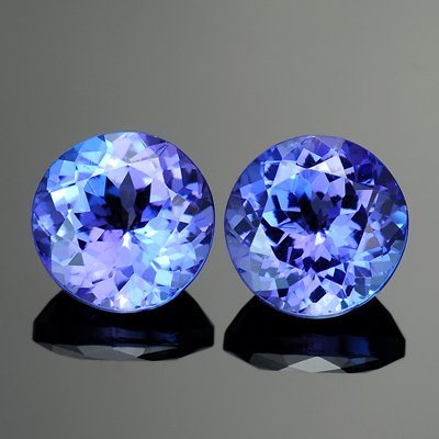 Top violetish Blue Color Natural Round Matched Tanzanite Pair 2.55 Ct