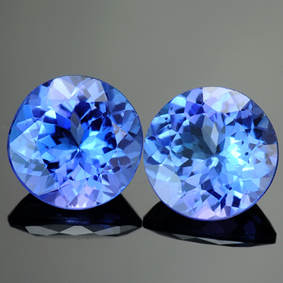 Natural Round Matched Tanzanite Pair 2.60 Ct