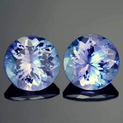 Natural Round Matched Tanzanite Pair Total weight: 2.64 Ct