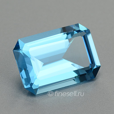 Natural Intense Blue Color Topaz Russia Emerald Cut