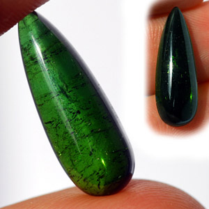 Natural Drop Shaped Cabochon Green Tourmaline 7.10 Ct