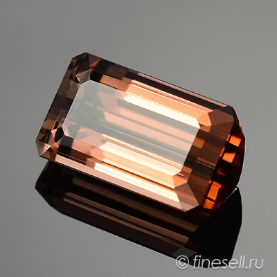 Emerald Cut Flawless Limited Edition Peach Bronze Natural Unheated Tourmaline