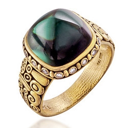 Natural Bi-color Tourmaline in Golden Ring